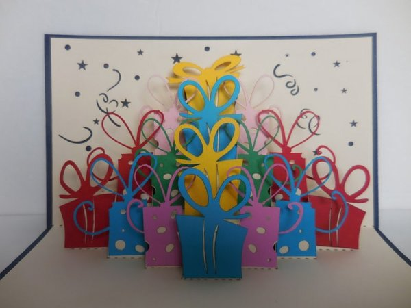 Lots of Presents (Red) 3D Pop Up Greeting Card 2