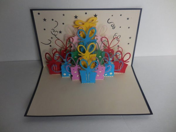 Lots of Presents (Red) 3D Pop Up Greeting Card 3