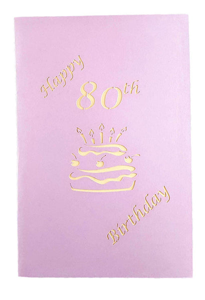 Happy 80th Birthday Cake 3D Pop Up Card 7