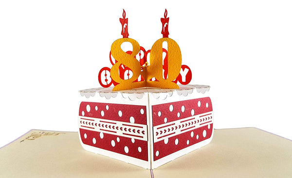 Happy 80th Birthday Cake 3D Pop Up Card 2
