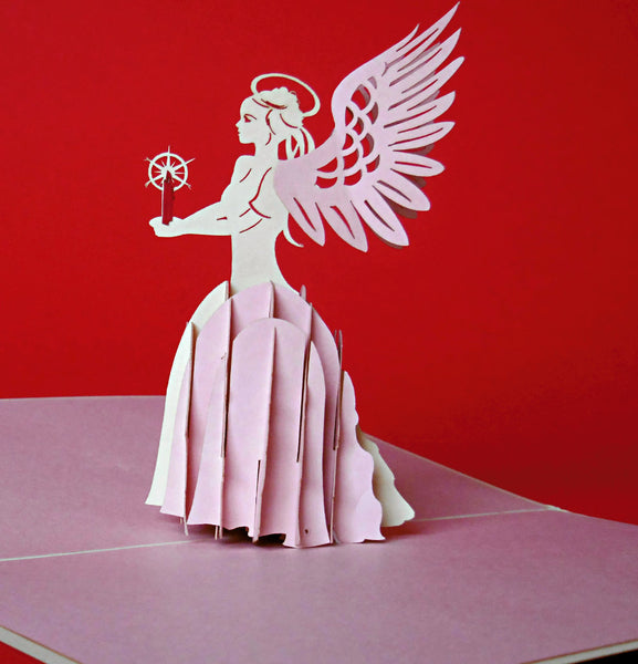 Angel (Pink) 3D Pop Up Greeting Card 1
