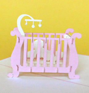 Baby Girl Crib 3D Pop Up Greeting Card 1