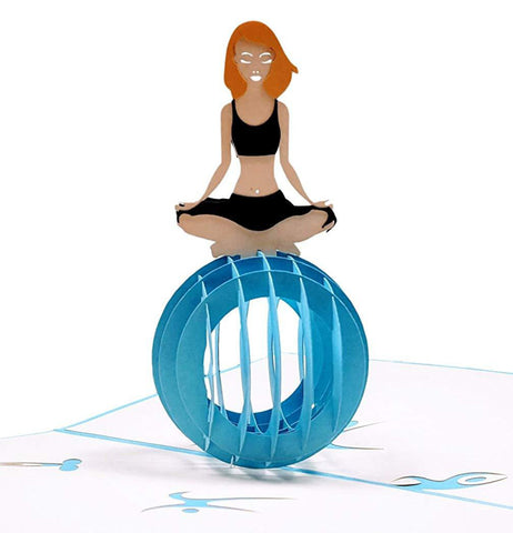 Cute Yoga Lady 3D Pop Up Greeting Card 1