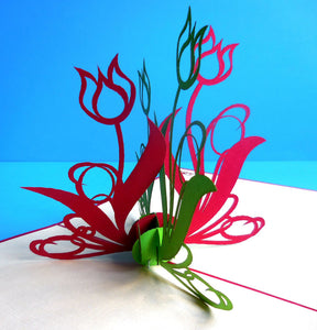 Green Red Flowers 3D Pop Up Greeting Card 1