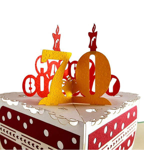 Happy 70th Birthday Cake 3D Pop Up Card 1