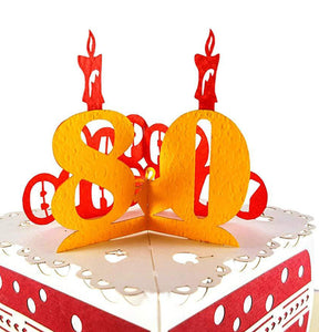 Happy 80th Birthday Cake 3D Pop Up Card 1