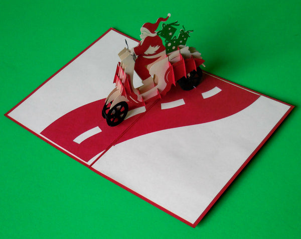 Santa in Scooter 3D Pop Up Greeting Card 3