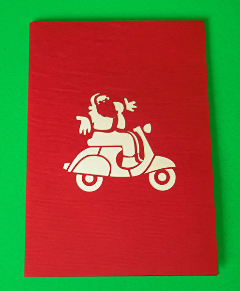 Santa in Scooter 3D Pop Up Greeting Card 4