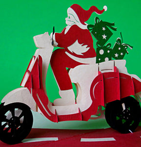 Santa in Scooter 3D Pop Up Greeting Card 1