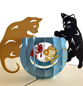 Two Cute Cats With Fish Bowl 3D Pop Up Greeting Card 1