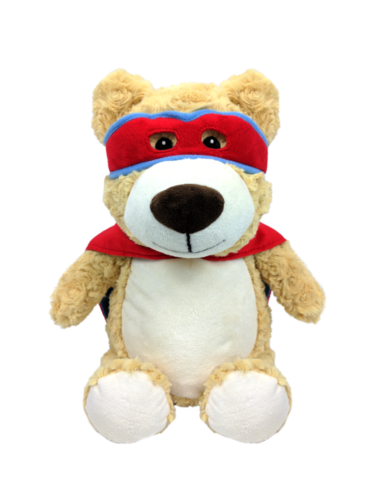 Red Hero Bear with Embroidered Birth Stats - SimplyNameIt