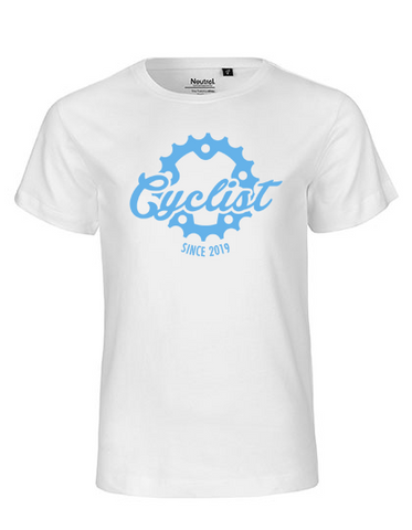 Cyclist since 20XX Kinder T-Shirt white-blue