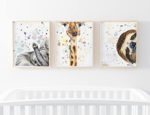 Elephant Nursery Art above Crib in baby's room