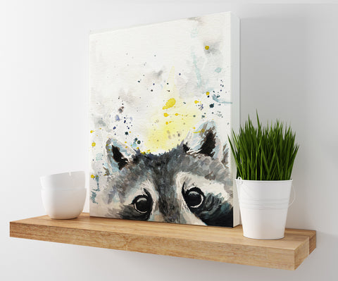 Raccoon Canvas Print | Watercolor Woodland Animal Prints