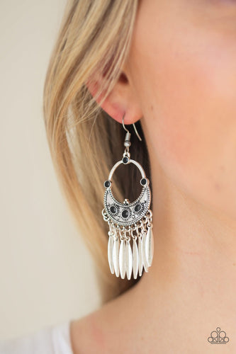 Cry Me a Riviera-black-Paparazzi earrings