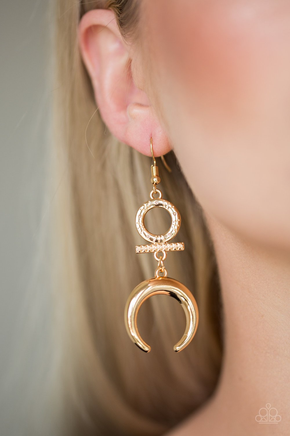 Majestically Moon Child - gold - Paparazzi earrings