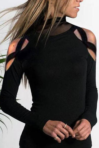 Turtle Neck Mesh Patchwork Hollow Out Long Sleeve T-Shirts