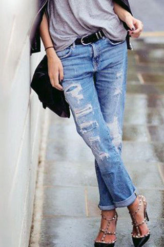 Patch Pocket Decorative Hardware Light Wash Jeans