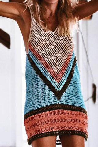 Vacation Sandbeach Bikini Sexy Strip Knitted Sweater Vest