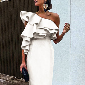 White Chic Ruffles One Shoulder Bodycon Dress