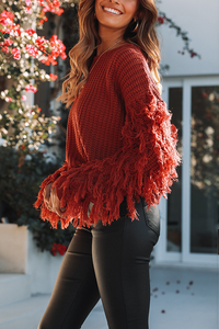 Fashion Round Collar Tassels Long Sleeves Plain Knitting Sweater