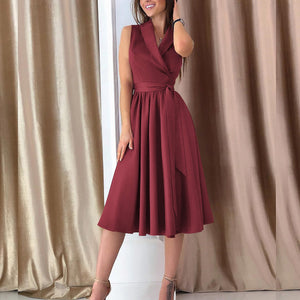Deep V Waist Sleeveless Skater Dress
