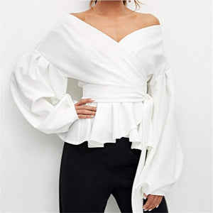 Sexy Shoulder Exposed Lantern Sleeve Shirt