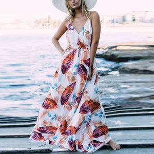 Printed Sexy Holiday Maxi Dress
