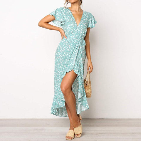 Casual Floral Short-Sleeved   V-Neck Chiffon Vacation  Dress