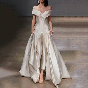 Sexy Off-The-Shoulder Folds Solid Color Evening Dress