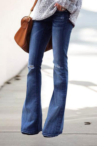 Slim Straight Knee Knit Blue Flare Jeans