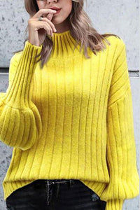 High Collar Sweater Solid Long Sleeve Pullover