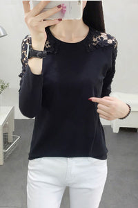 Female hollow lace long-sleeved body round collar yarn net striped sweater