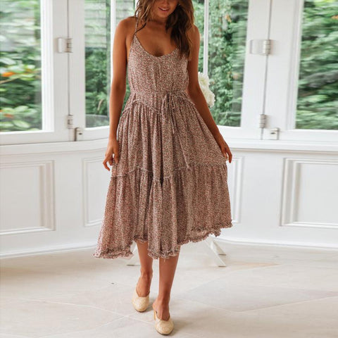 Sexy Sling Stitching Wooden Ear   Print Vacation  Dress