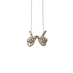 Carli Sita - Necklace - Mini Silver Hands