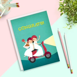 Rosy Designs - Cards - Moped Lesbian Brides Same Sex Wedding Card
