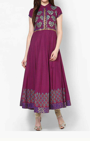 BlockPrinted Plum Purple Gown with Floral Print
