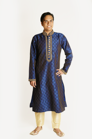Silk Brocade Navy Blue Men's Kurta