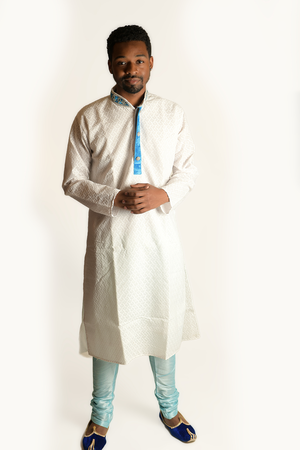 Classic Cotton White With Blue Trim Embroidered Men's Kurta