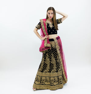 Oxford Blue Velvet  Heavy Embroidered Lehenga