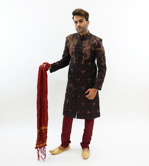 Silk Brocade Black Embroidered & Enhanced Rhinestone Work  Sherwani