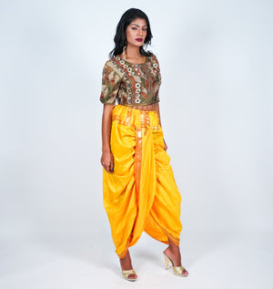 Silk Yellow Gold Dhoti Pants
