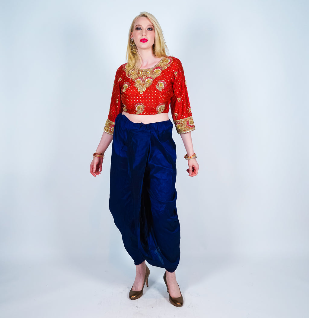 Royal Blue Silk Dhoti Pants