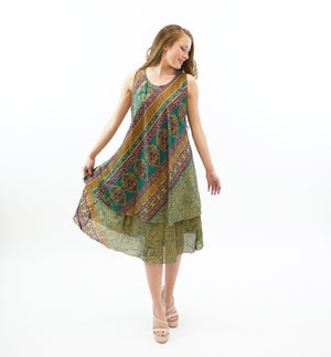 Silk Hunter Green With Byzantium Purple Printed Gown