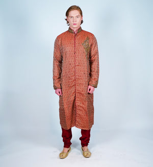 Silk Cider Rust Embroidered Sherwani