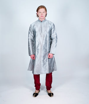 Silk Plain Grey Men's Kurta