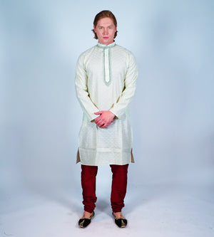 Cotton Mint Green Men's Kurta