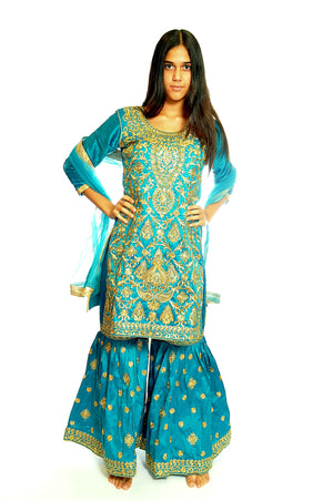 Formal Turquoise Sharara with Gold work Embroidery