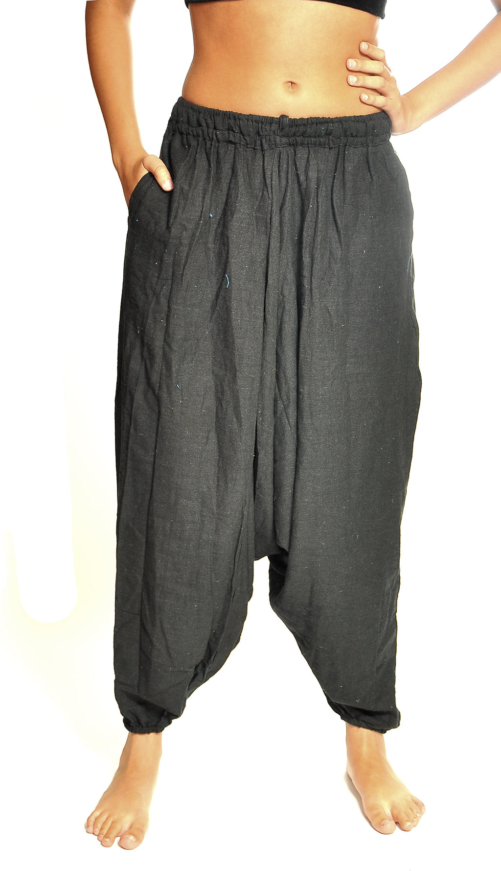 Black Harem Organic Cotton Pants with Pockets