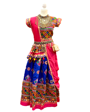 Blue & Fuchsia Cotton Chaniya Choli Lehenga